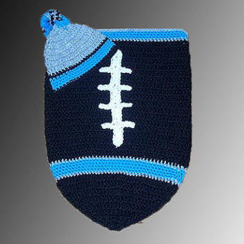 Carolina Panthers Inspired Football Baby Cocoon & Hat (Newborn to 3 months)