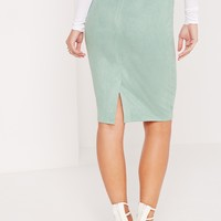 Missguided - Faux Suede Midi Skirt Green