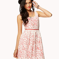 Contrast Lace A-Line Dress