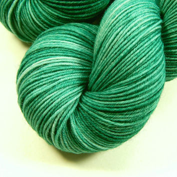 Hand Dyed Yarn - Sock Weight Superwash Merino Wool/Nylon Yarn - Bluegrass - Knitting Yarn, Sock Yarn, blue green, teal, tonal