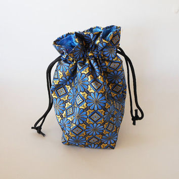 Drawstring Makeup Bag - Abstract Blue Flower Design - Japanese Fabric - Asian Fabric - Makeup Pouch - Cosmetic Bag - Adorable Little Bag