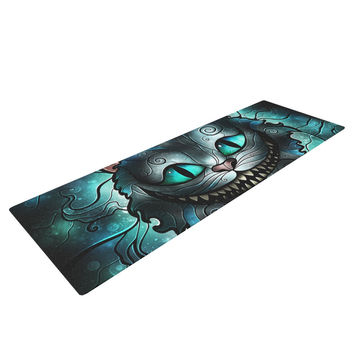 "Mandie Manzano ""Mad Chesire"" Teal Cat Yoga Mat"