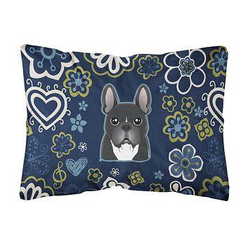 Blue Flowers French Bulldog Canvas Fabric Decorative Pillow BB5078PW1216