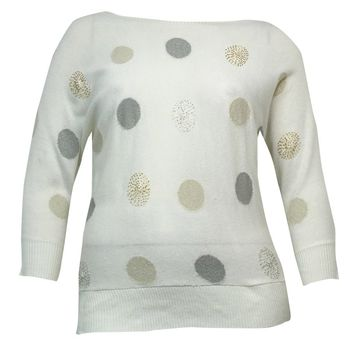 Charter Club Women's Metallic Dot Dolman Sweater