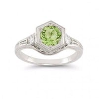 Roman Art Deco Peridot and White Topaz Ring in .925 Sterling Silver