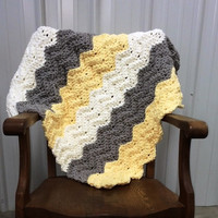 Crochet Pattern Quick & Easy Chevron Ripple Baby Kamden Blanket Made with Bernat Baby Blanket Yarn