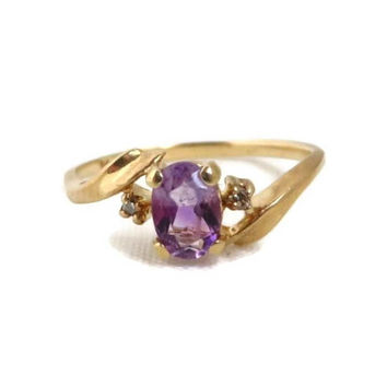 Amethyst & Diamond Ring, 14K Yellow Gold, Vintage Women's Ring, Oval Cut Amethyst 0.40ctw, Size 6.5