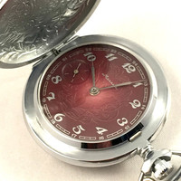 "NEW Vintage Soviet Pocket watch called ""MOLNIJA"" (eng.""lighting""). Mechanical pocket watch, brand new watch comes with passport!"