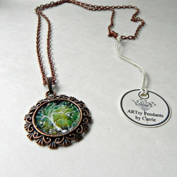 "Mosaic EGGSHELL FLOWER Pendant Necklace Hand Painted Abstract  Mosaic Antique Copper 24"" Rolo Chain OOAK"