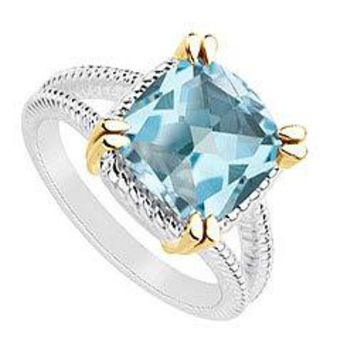 Blue Topaz Ring : Two Tone (Sterling Silver & 14K Yellow Gold) - 6.00 CT TGW
