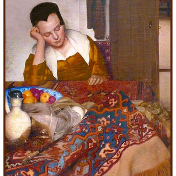 A Woman Asleep at Table by Johannes Vermeer Counted Cross Stitch or Counted Needlepoint Pattern
