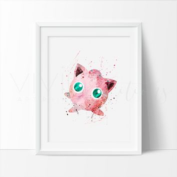 Jigglypuff, Pokemon Go Watercolor Art Print