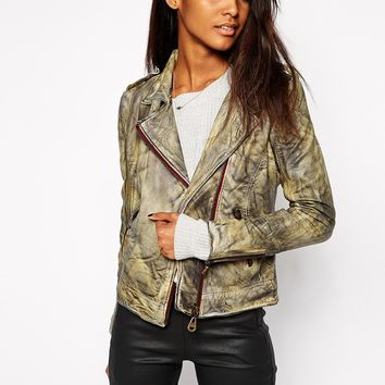 Doma Leather Biker Jacket in Mottled Effect
