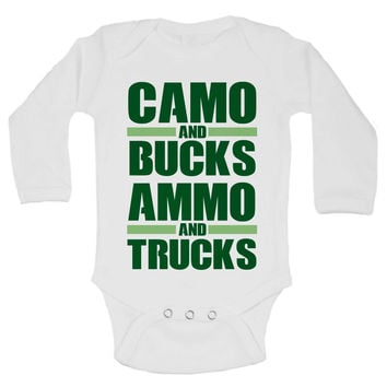 Camo And Bucks Ammo And Trucks Funny Kids Onesuit - 230