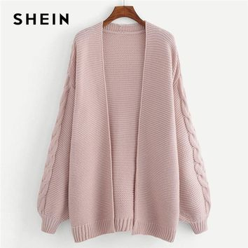 SHEIN Plus Size Long Sleeve Acrylic Casual Women Pink Long Knitted Cardigan Winter Open Stitch Solid Sweater
