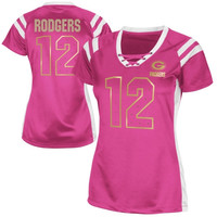 Aaron Rodgers Green Bay Packers Women's Draft Him Shimmer V-Neck T-Shirt – Pink