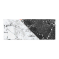 "KESS Original ""Geo Marble and Coral"" Black Art Deco Bed Runner"
