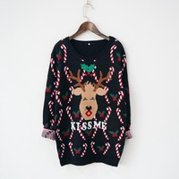 Women Ugly Christmas Sweater with Deer
