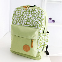 Lace Floral Print Korean Style Canvas School Backpack