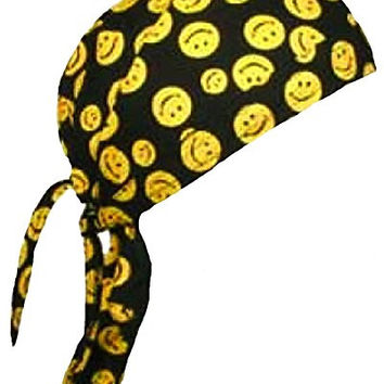 Smiley Face Doo Rag Happy Skull Cap Mens or Womens with BCAH BCA Bumper Sticker