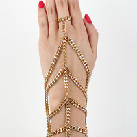 Single Ring Draped Hand Chain