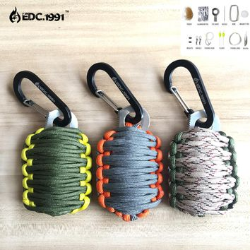 EDC.1991 Outdoor Camping GEAR Carabiner Grenade 550 Paracord Survival Kit Fishing Kit and Sharp Eye Knife Useful Hunting Tools