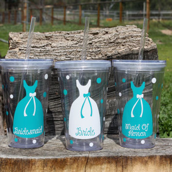 Listing for 6 Personalized Bridal Party Acrylic Tumbler with Straws - BPA Free- Wedding Party Gifts, Bride, Bridesmaids, Flower Girls