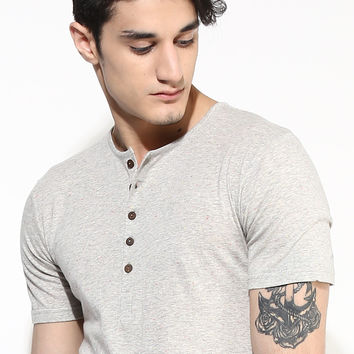 Organic Cotton Grey Henley