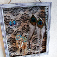 Shabby Chic Lace Earring Holder  FREE feather earrings by taysed