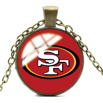American football Handmade Glass Cabochon Ball Chain Pendant Necklace 49ers Glass Dome Trendy Colts kansas city chiefs Tampa Bay