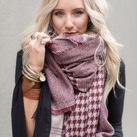 London Fog Plaid & Houndstooth Wrap Scarf - Red
