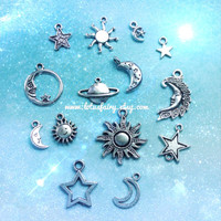 Moon and Sun charms set lot of 14