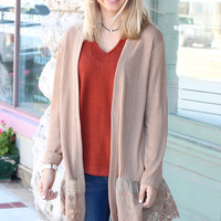 Lace Trim Ribbed Cardigan {Camel}