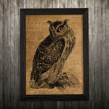 Bird print Owl poster Burlap decor Animal print BLP870