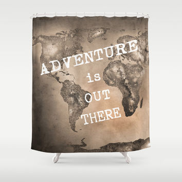 Adventure is out there. Stars world map. Sepia Shower Curtain by Guido Montañés