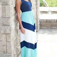 Color Block Stripe Print U Neck Maxi Dress