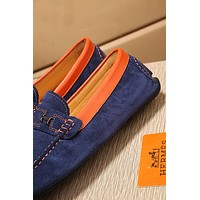 Hermes Men's Suede Leather Fashion Sneakers Shoes