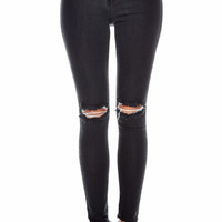 High Waist Ripped Knee Skinny Jeans In Matte Black