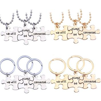 Trendy Puzzle Jigsaw Necklace Letter We Will Always Be Connected Pendant Best Friends Keychians BBF Lovers' Gifts Drop Shipping