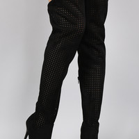 Suede Perforated Pointy Toe Stiletto Thigh High Boot