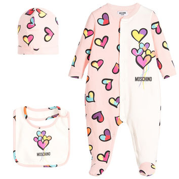 Moschino Baby Girls Hearts Print Onesuit, Hat ad Bib Gift Set