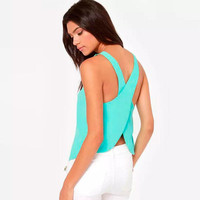 Hot Summer Women Chiffon Tank Tops Solid Color Sexy Crossed Back Vest Sleeveless Blouses Shirts Loose Camis Female Clothing