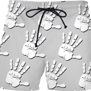 White palm prints pattern swim shorts, stencil hands at gray men short pants, beach style