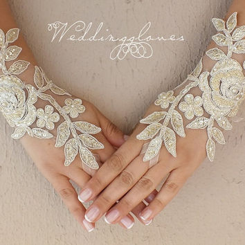 Champagne  Wedding gloves bridal gloves fingerless lace gloves beaded pearl and rhinestone free ship Unique