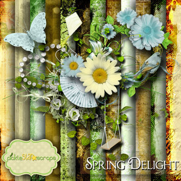 Spring Delight - Digital Scrapbook Kit - Printable Backgrounds - 12x12 inch Papers - FREE Quickpage Layout