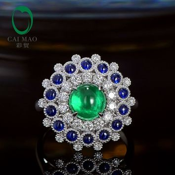 Caimao Cabochon Cut 1.85ct Natural Emerald 18k White Gold Halo Diamond Sapphire Engagement Ring for Women