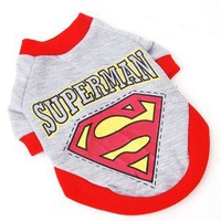 Pet Clothes Superman Dog Gray Large Size T-shirt