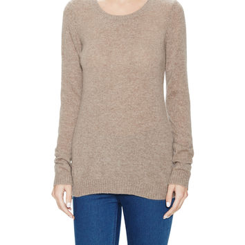 Qi Cashmere Women's Side Zip Cashmere Tunic Sweater - Cream/Tan -