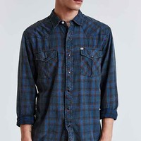 Salt Valley Plaid Western Button-Down Shirt- Black