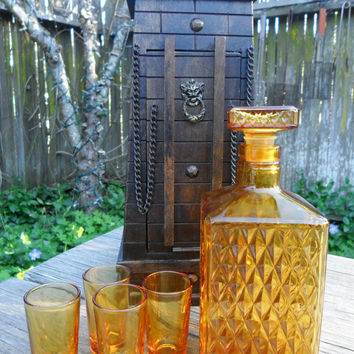 Vintage CASTLE Liquor Decanter - Amber Yellow Cut Glass in Wooden Container